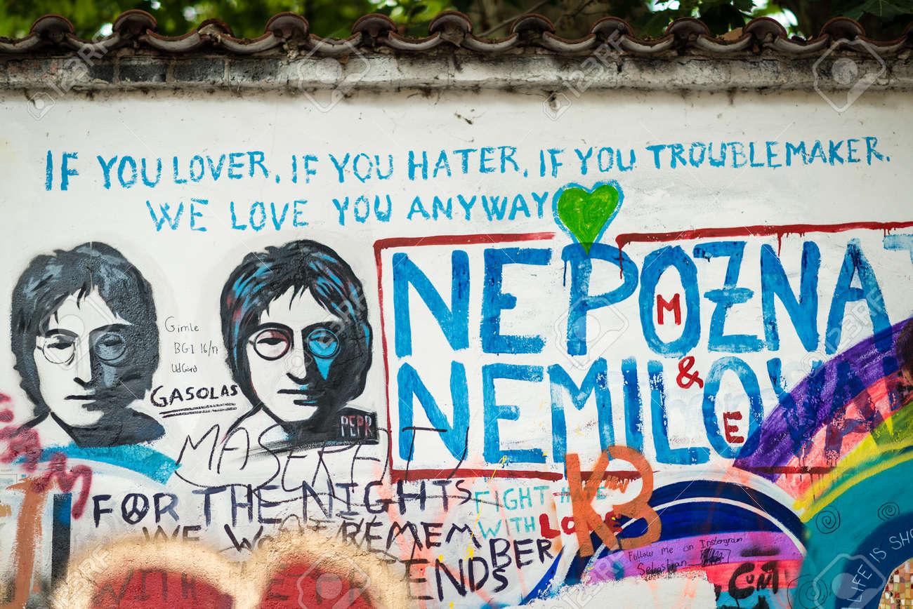 Prague Czech Republic July 15 2017 The John Lennon Wall In