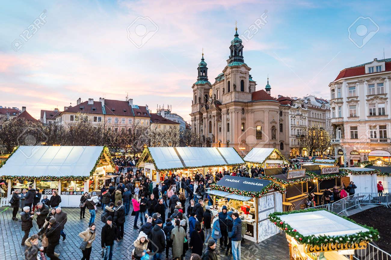 Prague Christmas Market.Prague Czech Republic December 23 2017 Prague Christmas Markets