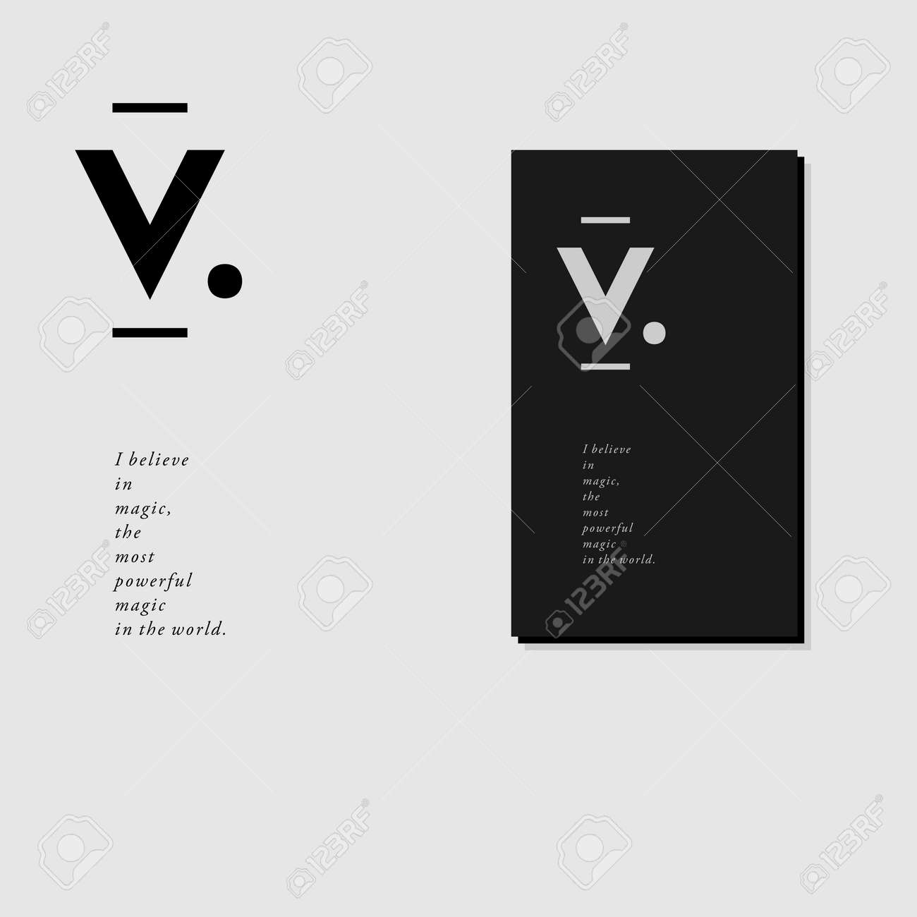 Letterhead And Business Card Design With V Monogram In Minimal ...
