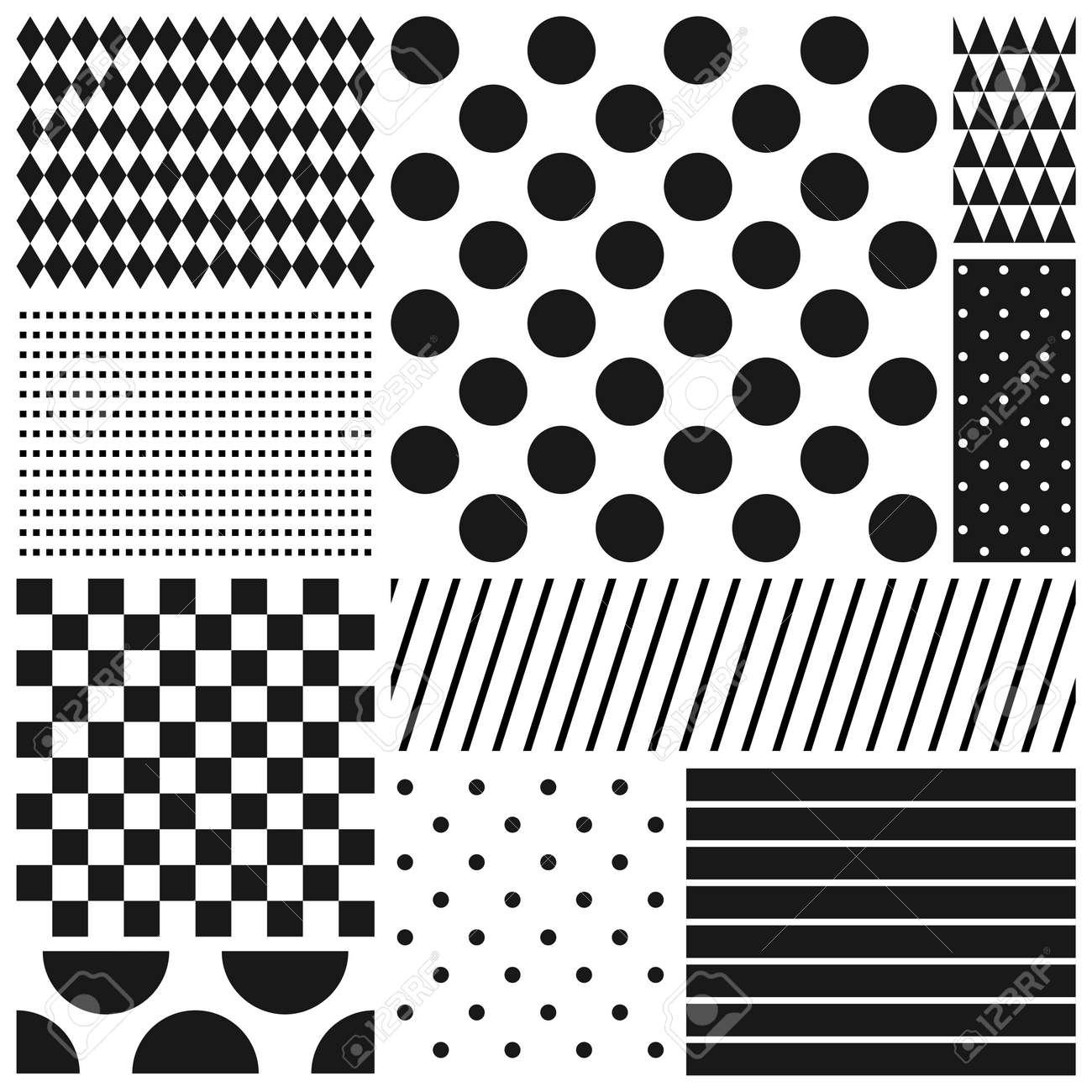 Black and white geometric seamless patterns set - 54105238