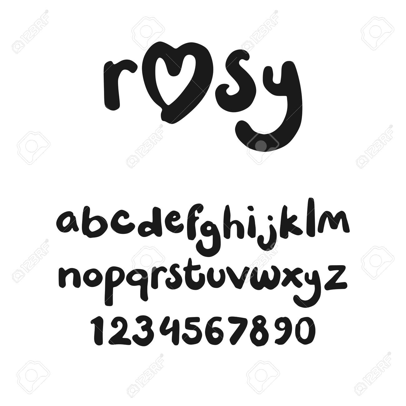 小文字 (文字と数字) マーカーで手書きでかわいいフォント ロイヤリティ