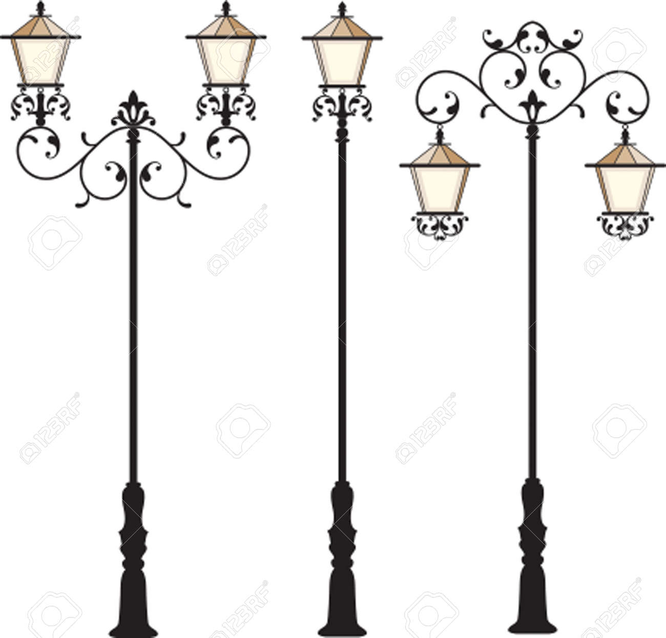 Wrought Iron Street Lamp Post Vector Art Royalty Free Cliparts ... for Street Lamp Post Vector  35fsj