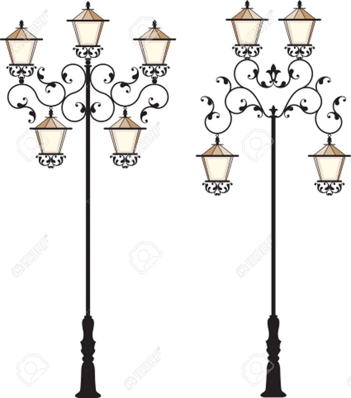 Wrought Iron Street Lamp Post Vector Art Royalty Free Cliparts ... for Street Lamp Post Vector  588gtk