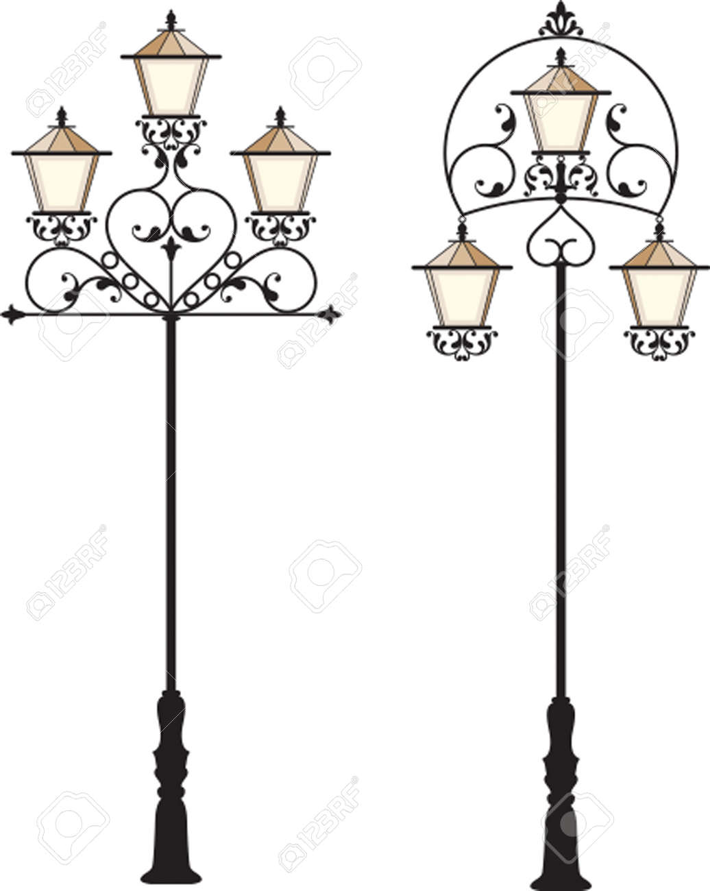 Wrought Iron Street Lamp Post Vector Art Royalty Free Cliparts ... for Street Lamp Post Vector  56bof