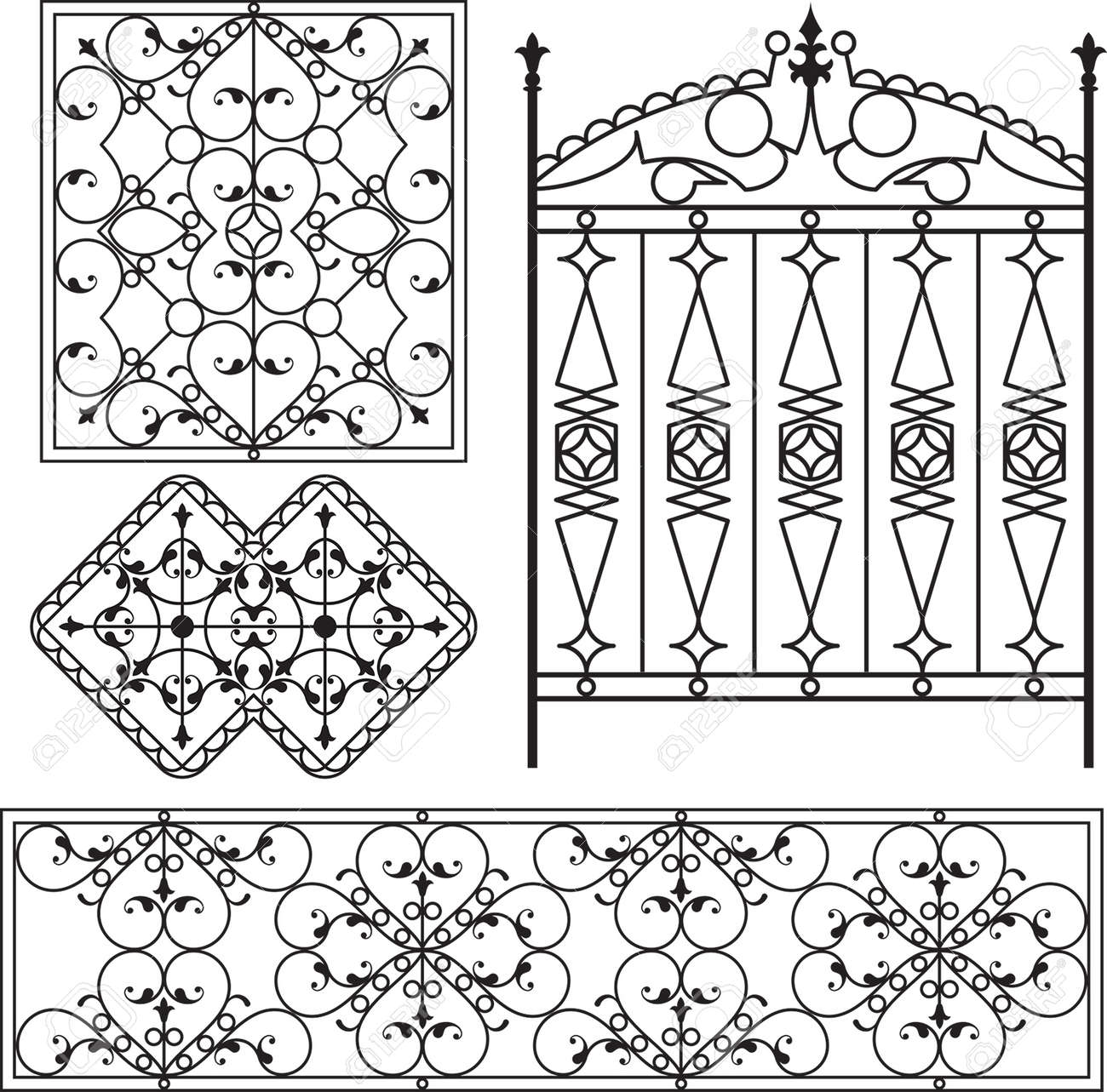 Fer Forgé Porte, Porte, Clôture, Fenêtre, Grill, Art Vector Design ...