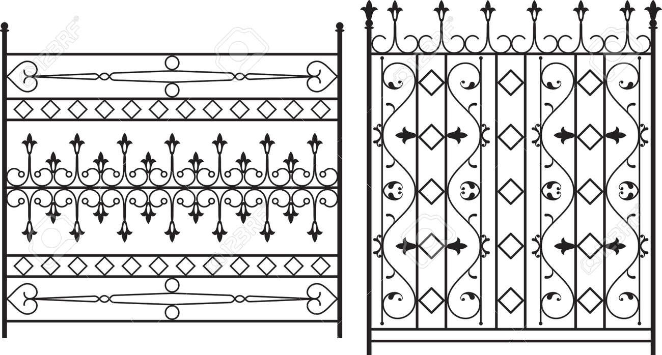 Fer Forgé Porte Porte Clôture Fenêtre Grill Art Vector Design
