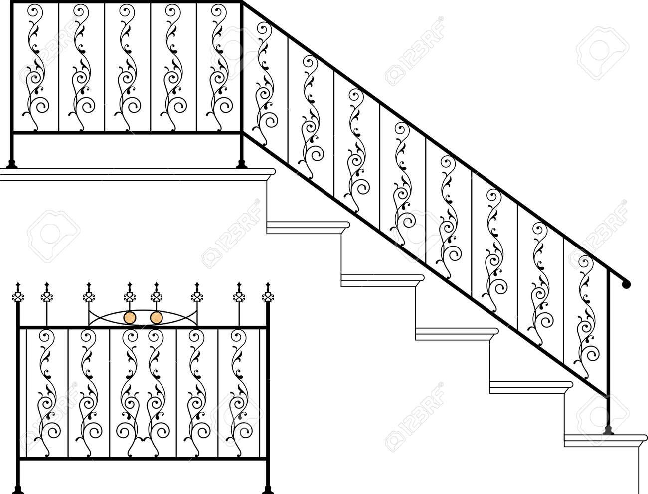 wrought iron stair railing design vector art stock vector