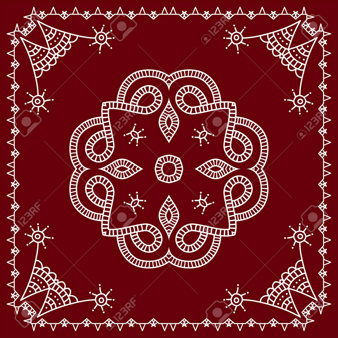 Folk Tribal Design Motif Wall Painting Vector Art