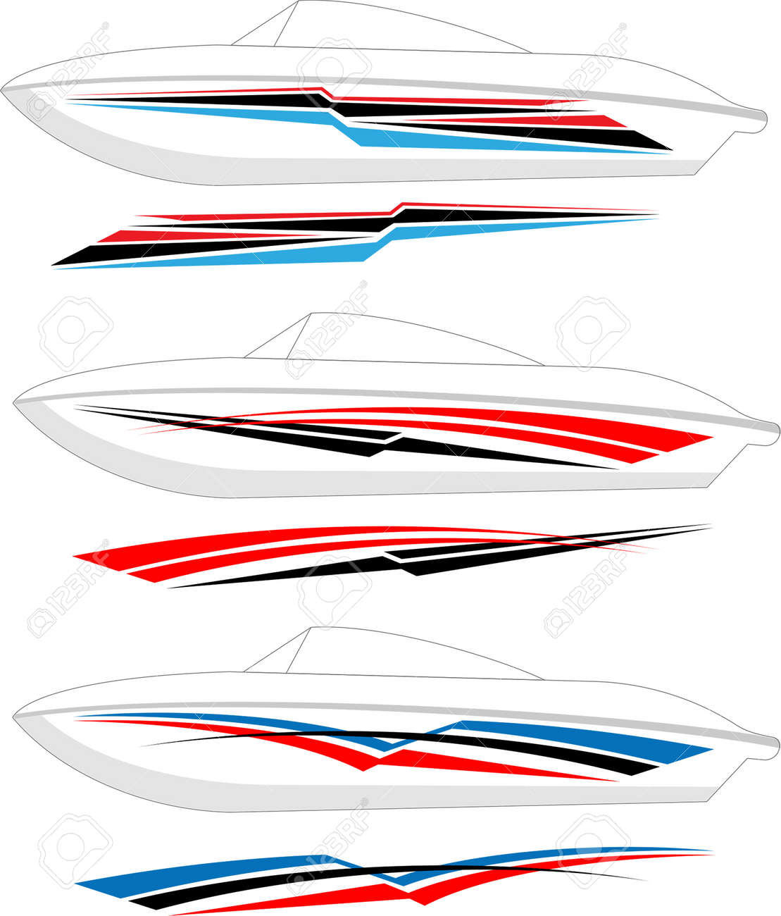 Boat graphics stripe vinyl ready vector art stock vector 46875030