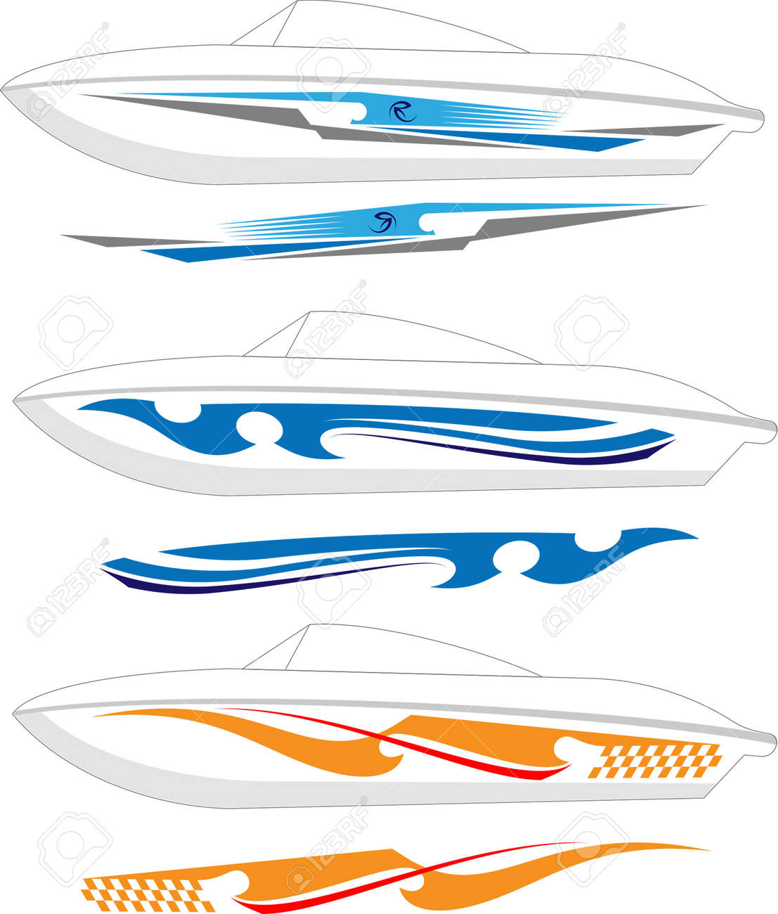 Boat graphics stripe vinyl ready vector art stock vector 46875453