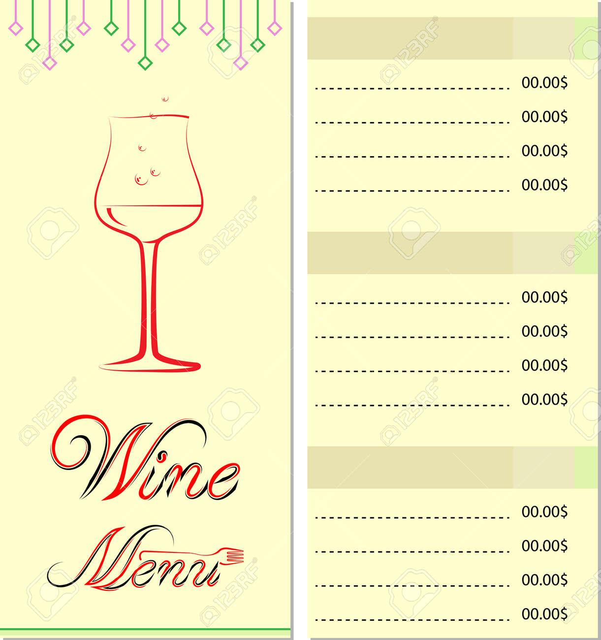 Wein-Menü-Karten-Liste Design-Vorlage Lizenzfrei Nutzbare ...