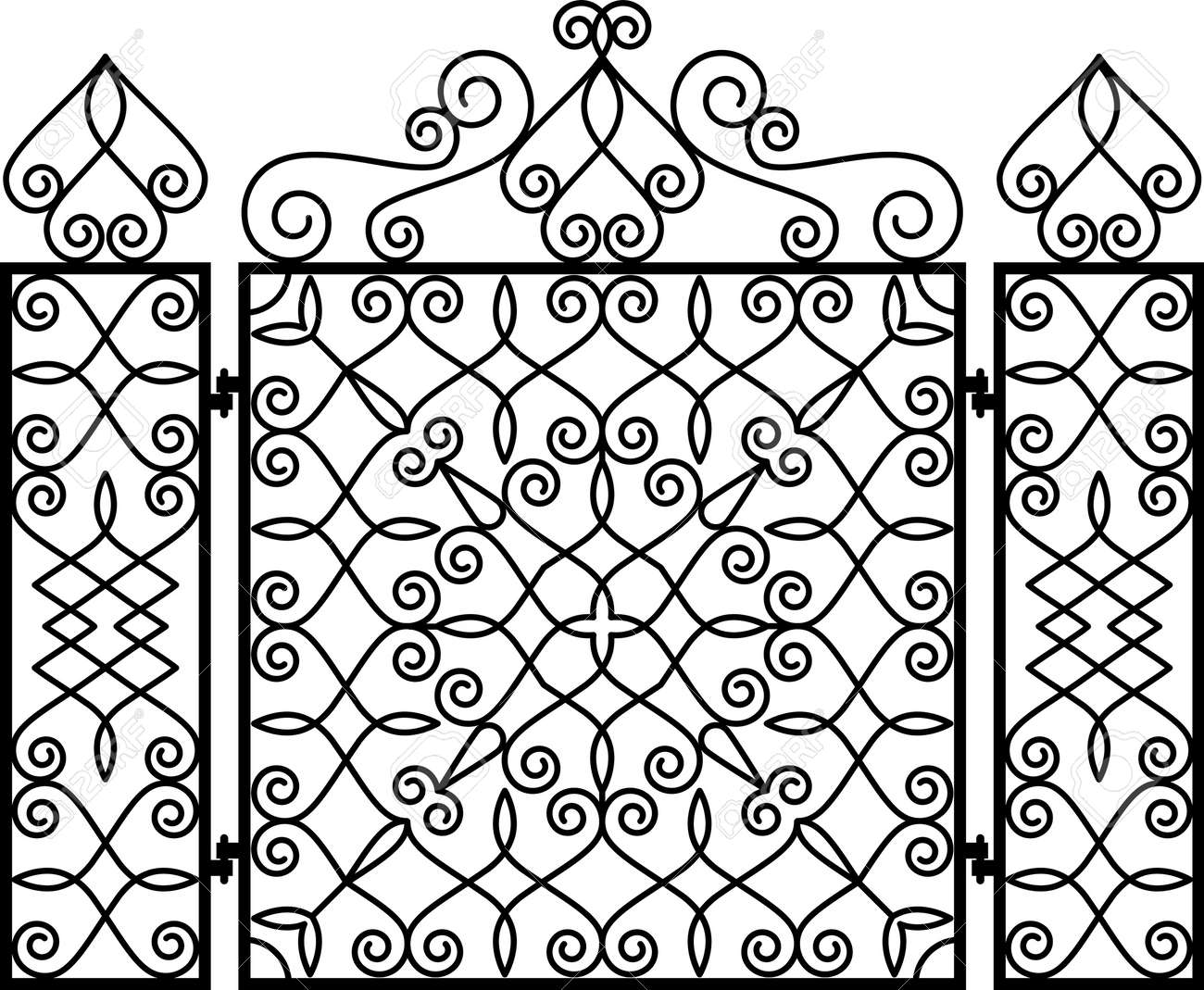 Wrought Iron Fireplace Screen Vector Illustration