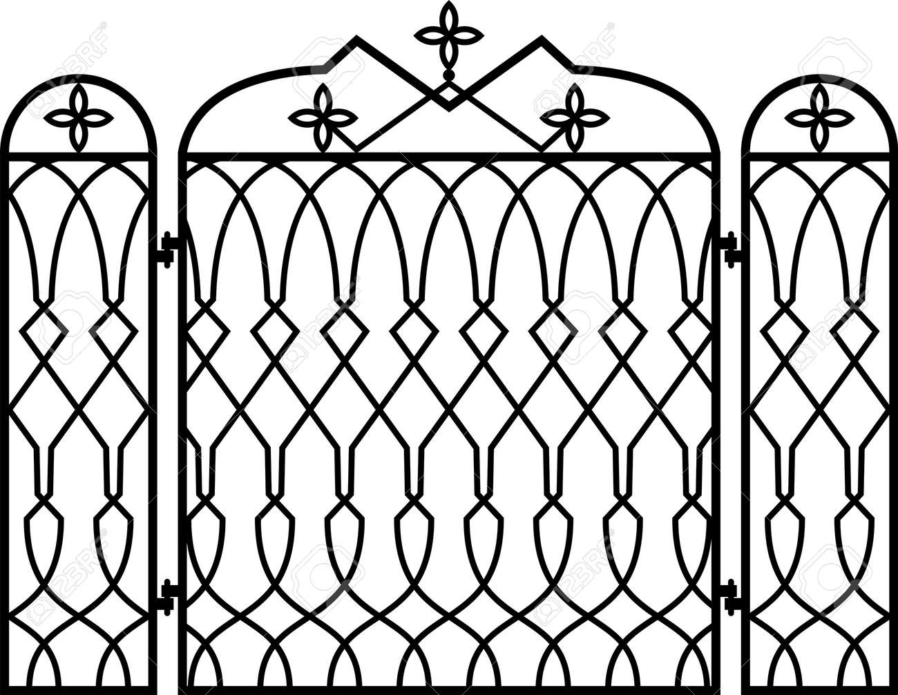 wrought iron fireplace screen vector illustration royalty free