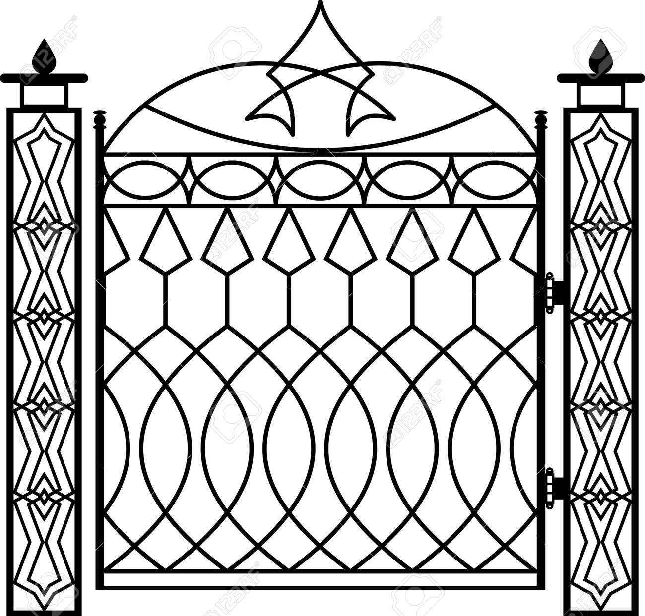 Vector   Wrought Iron Gate Pillar Vector Illustration