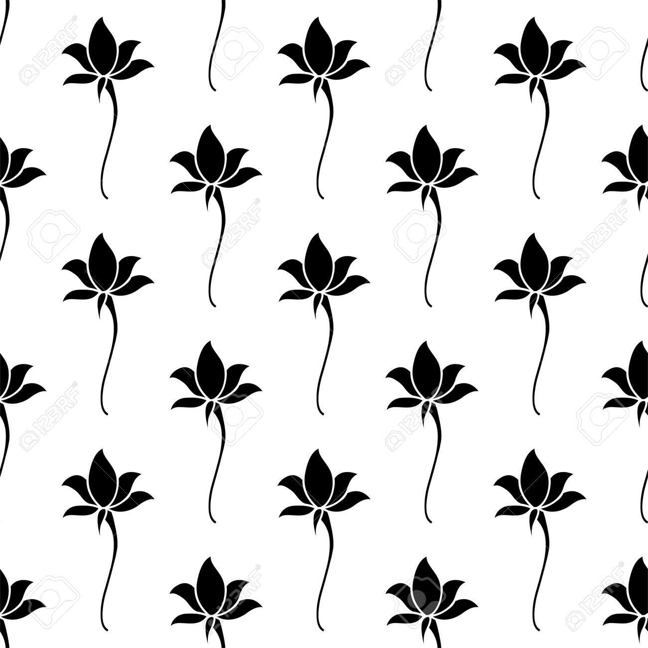 Lotus Flower Icon Seamless Pattern Lotus Flower Vector Art