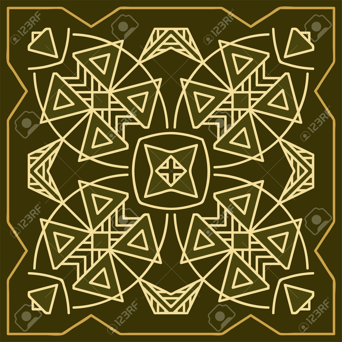 Folk Tribal Design Motif Wall Painting Vector Art Illustration