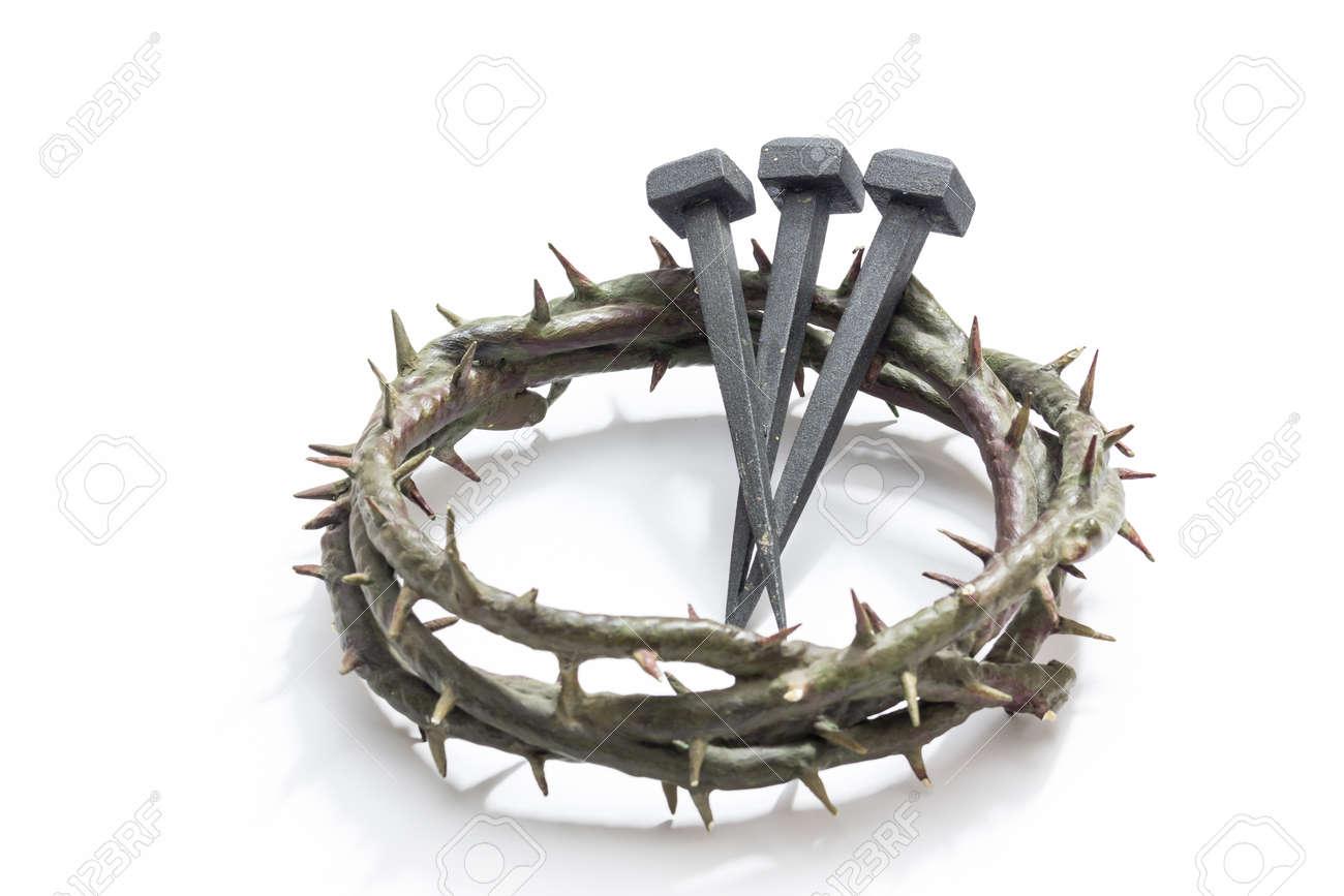 Jesucristo Corona De Espinas Y Los Clavos Sobre Un Fondo Blanco El