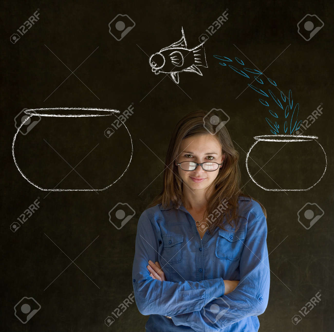 Business woman, student or teacher with fish jumping from small bowl to big bowl on blackboard background Stock Photo - 18870255