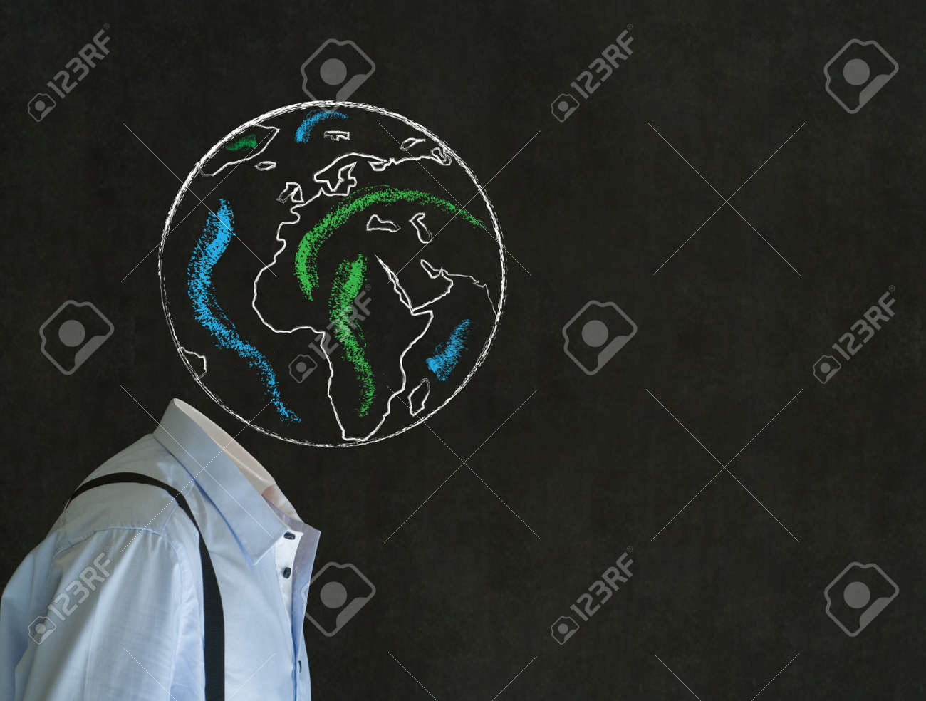 Headless business man, teacher or student with world earth globe head Stock Photo - 19246726
