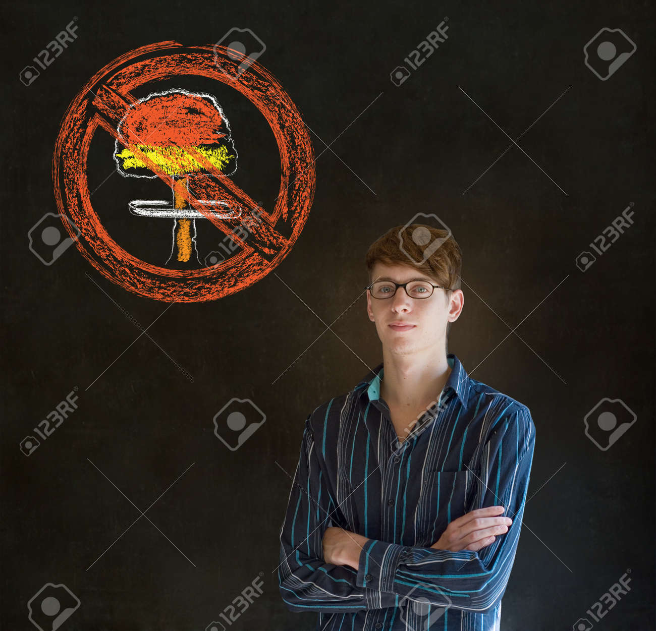 Business man, student, teacher or politician no nuclear bombs war pacifist thought thinking chalk cloud on blackboard background Stock Photo - 19286655