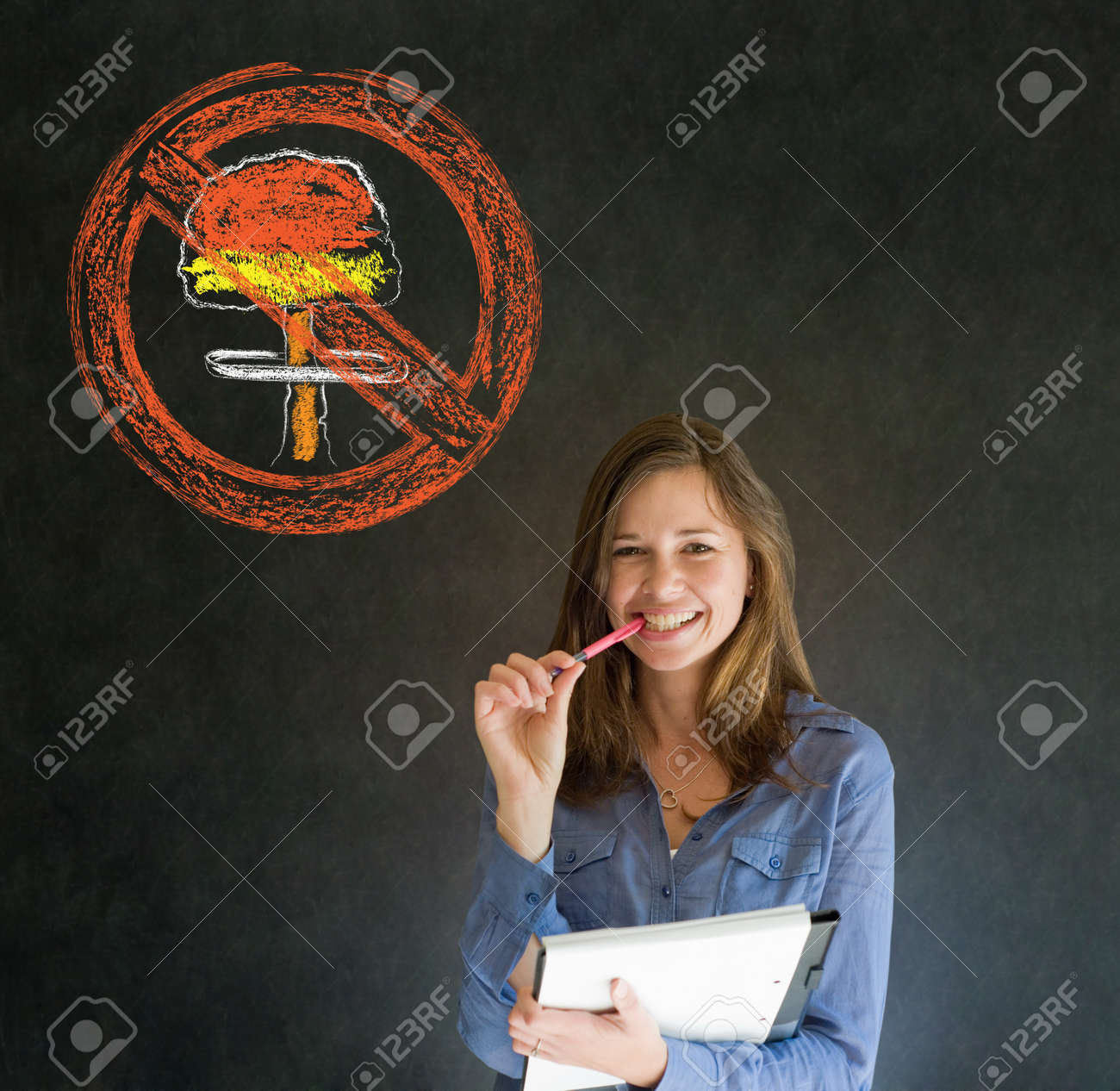 Business woman, student, teacher or politician no nuclear bombs war pacifist thought thinking chalk cloud on blackboard background Stock Photo - 19286646