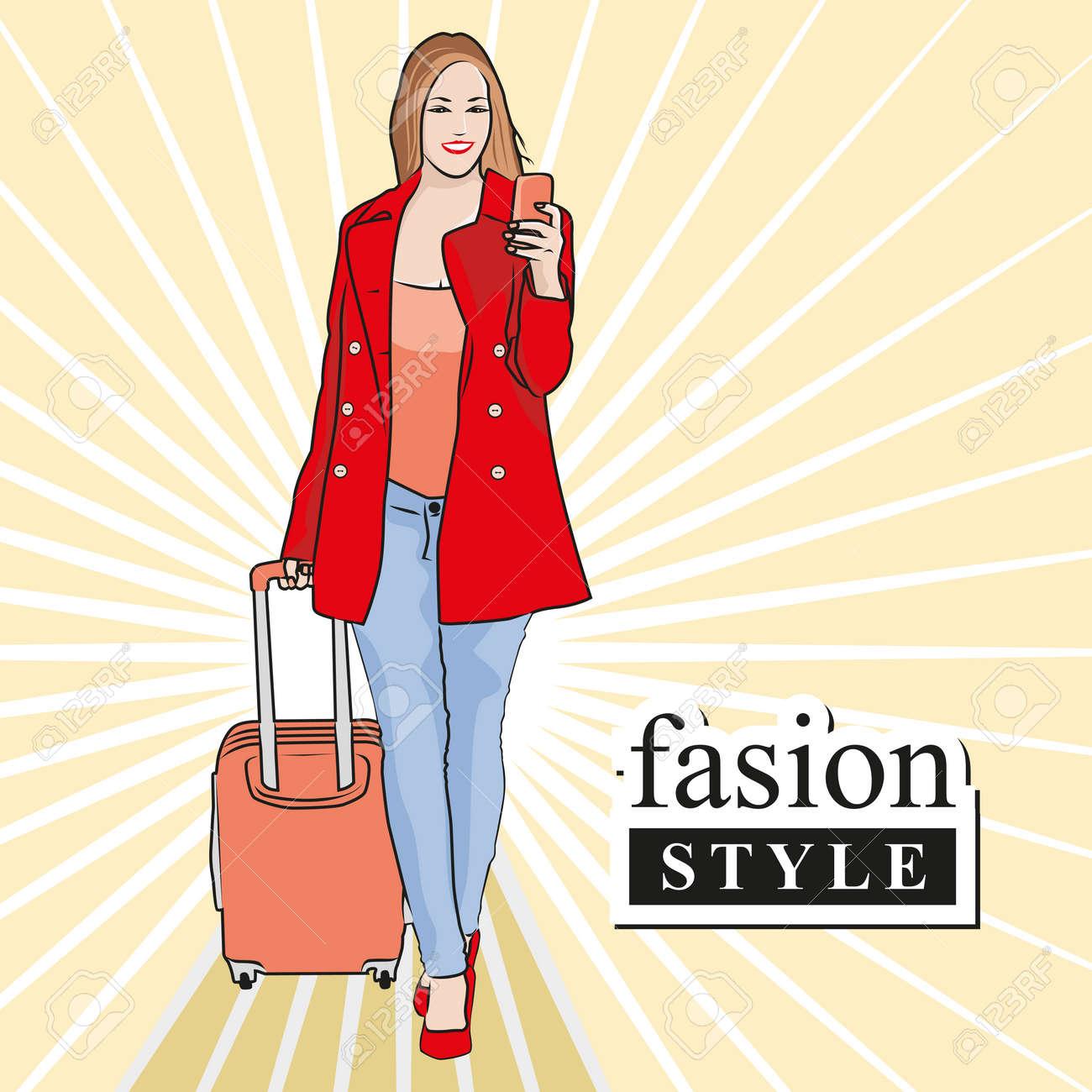 b6c2f2180475 Hermosa mujer de moda comprar cosas con estilo. ilustración vectorial de  diseño gráfico.