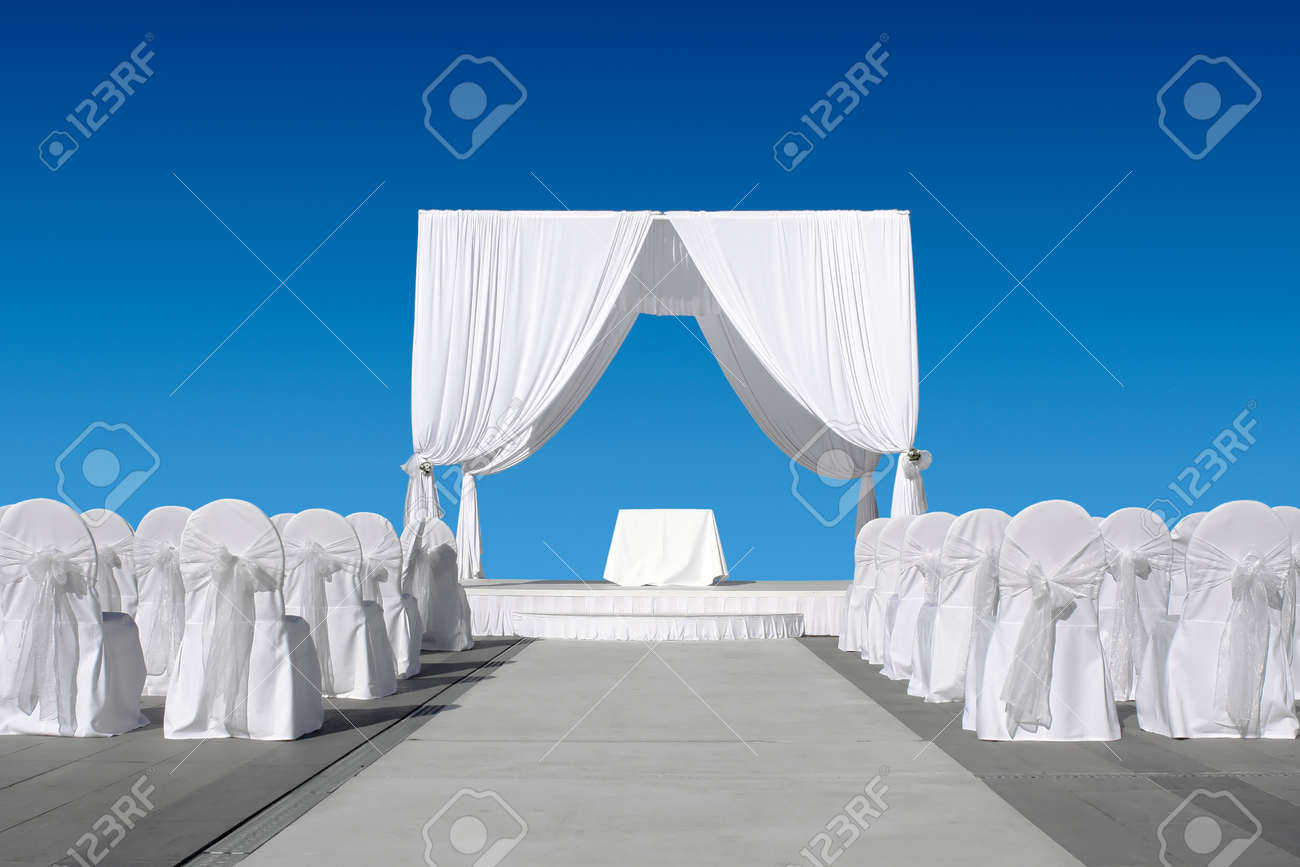 Pleasing Wedding Canopy With Chairs All In White On Blue Sky Download Free Architecture Designs Sospemadebymaigaardcom