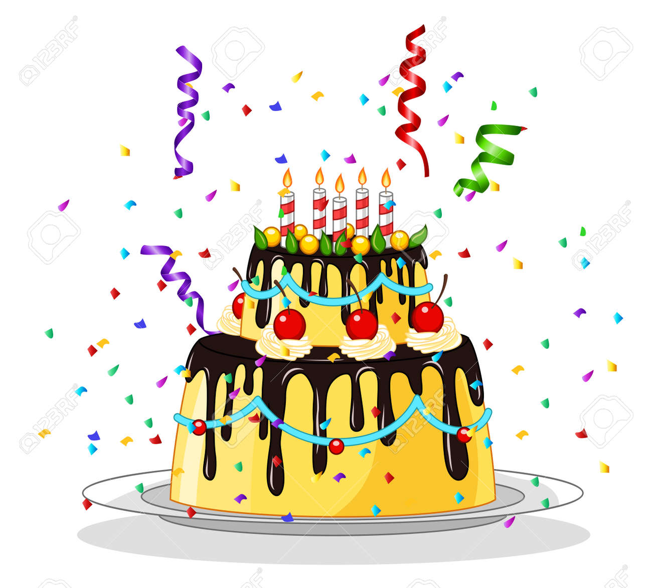 Happy Birthday Greeting Card With Cakes Royalty Free Cliparts