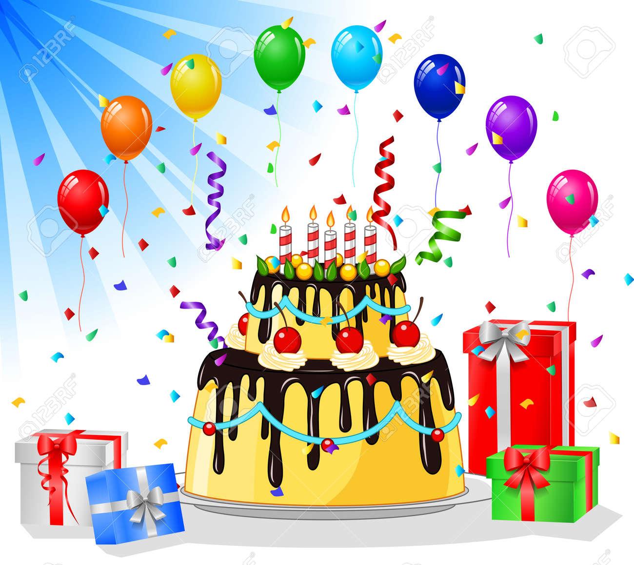 Super Buon Compleanno Biglietto Di Auguri Con Torta E Palloncini Clipart  CA77