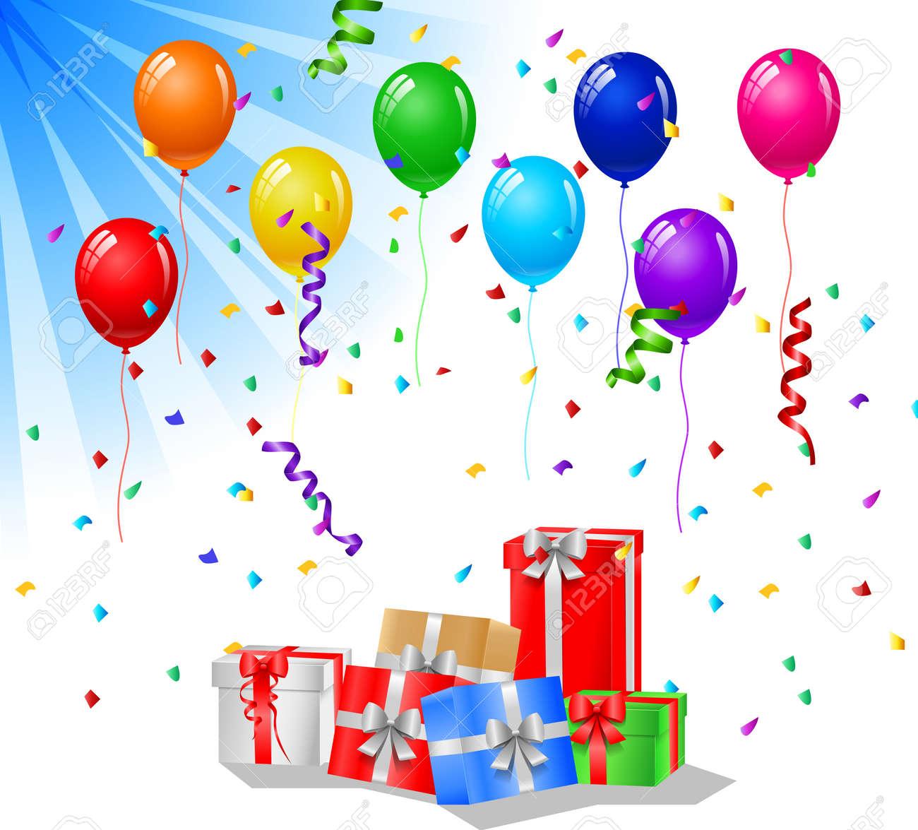 Открытки с днём рождения с воздушными шарами