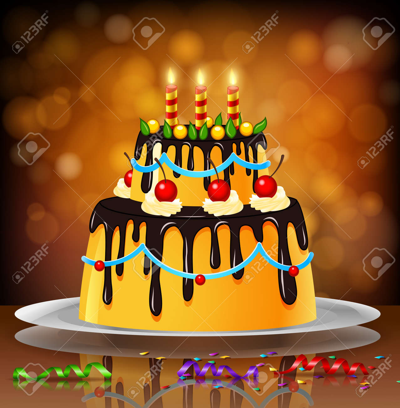 Beautiful Happy Birthday Cake On Artistic Background Royalty Free