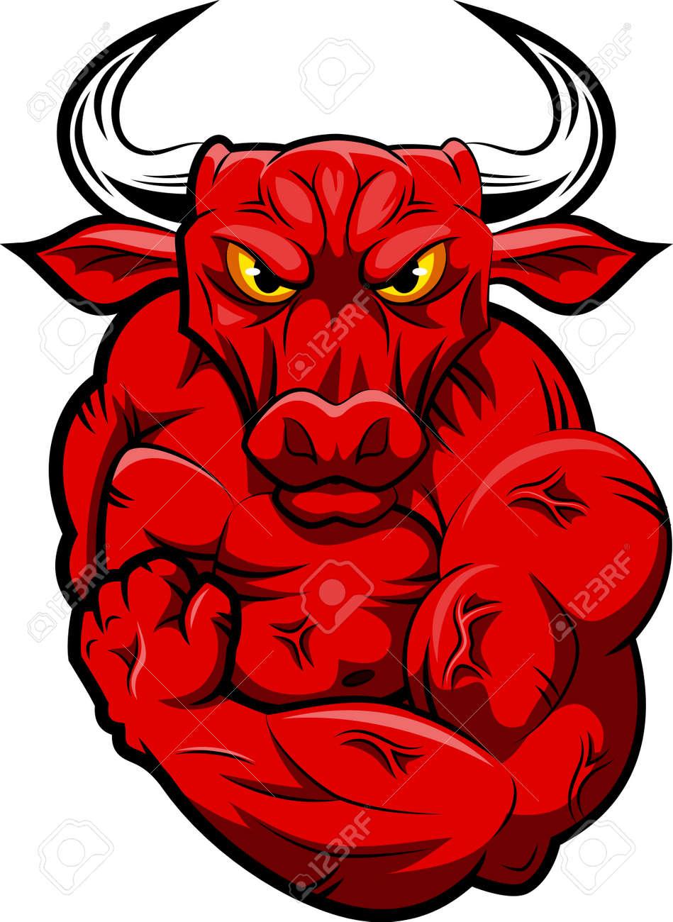 bull strong mascot vector illustration royalty free cliparts