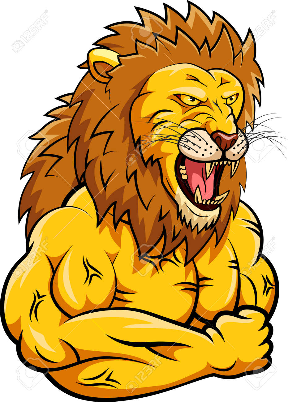 lion strong mascot vector illustration royalty free cliparts