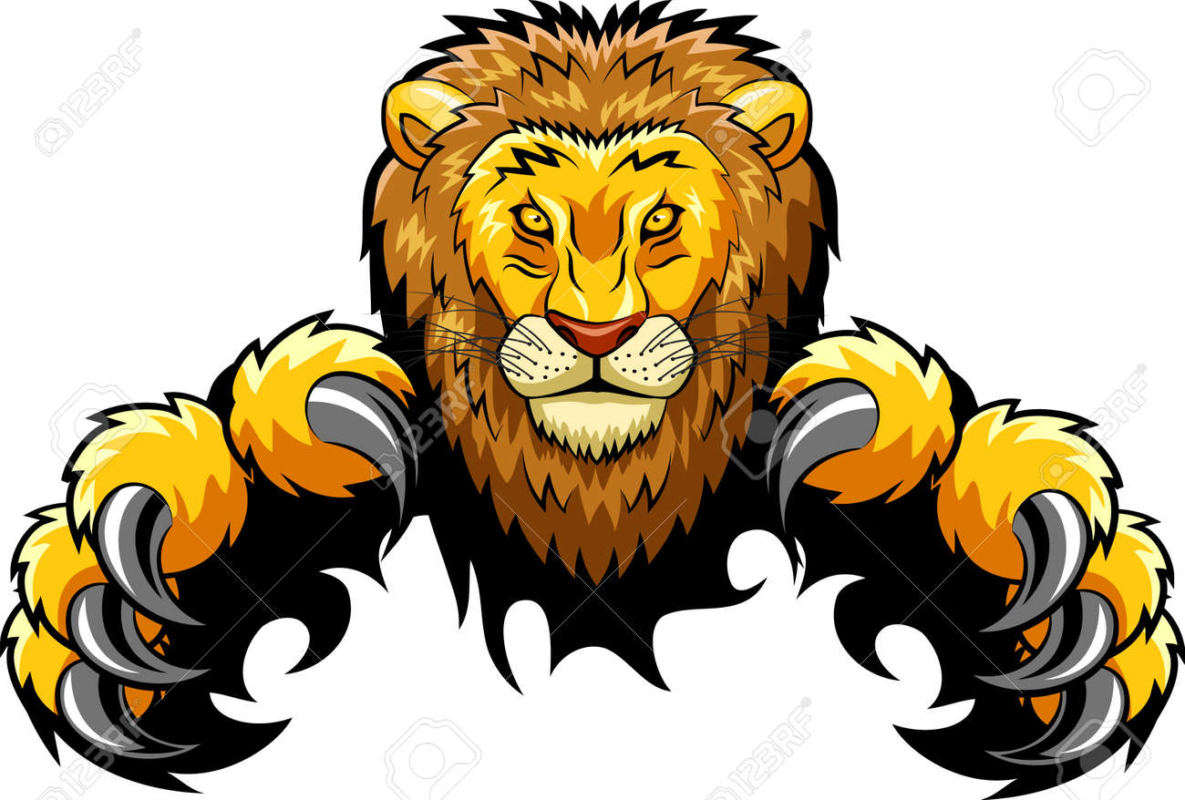 angry lion mascot vector illustration royalty free cliparts