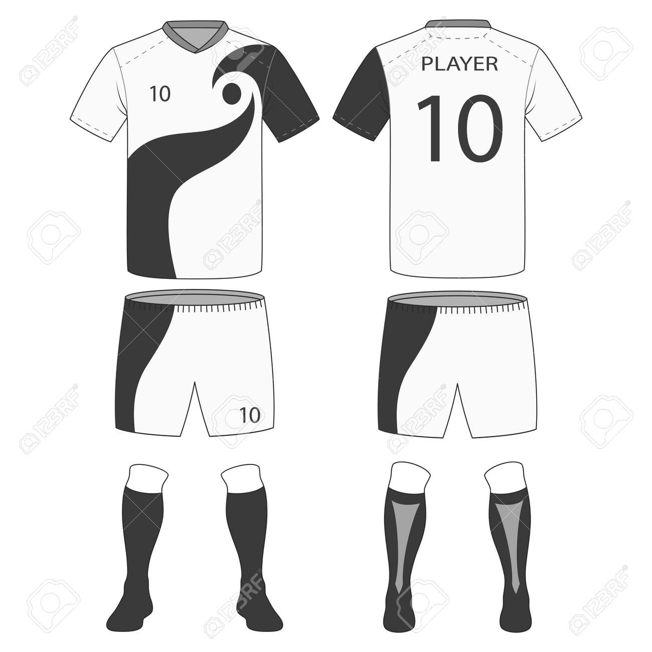 Set Of Soccer Kit Or Football Jersey Template For Club Vector Illustration Stock