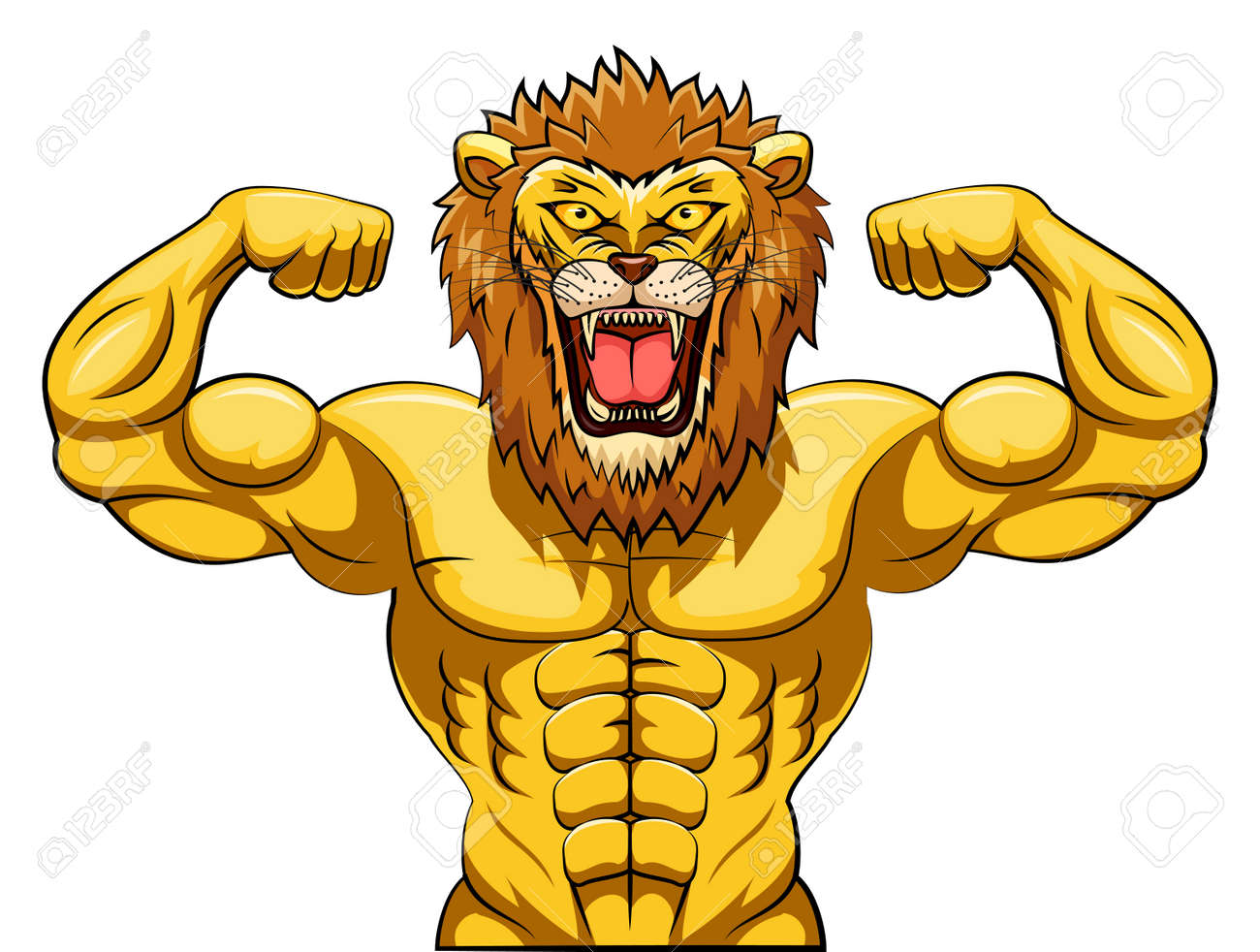 angry strong lion mascot vector illustration royalty free cliparts