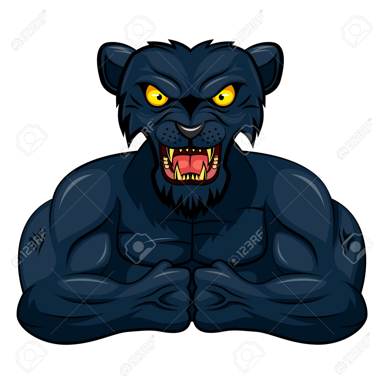 angry strong panther mascot vector illustration royalty free rh 123rf com Black and White Panther Head Panther Clip Art Black and White