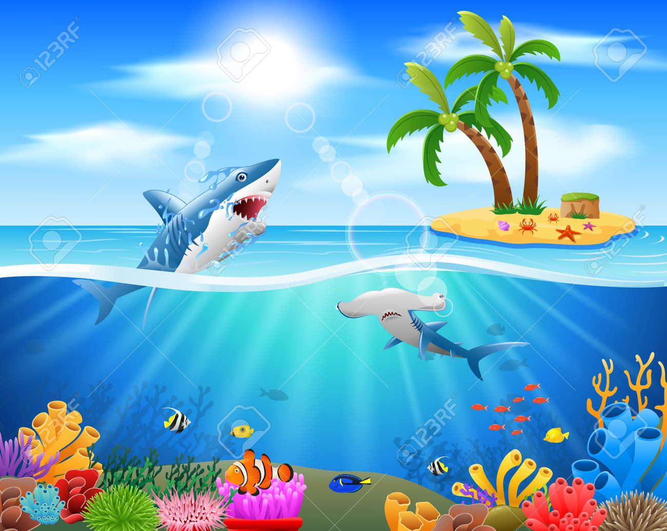 Cartoon shark jumping in blue ocean background  vector illustration
