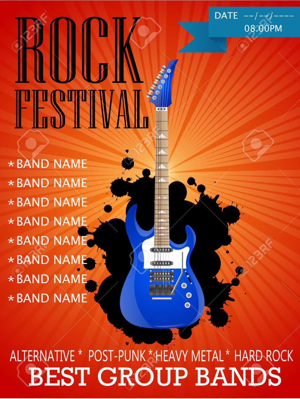 Rock Festival Banner Design Template With Guitar Vector Illustration Royalty Free Cliparts Vectors And Stock Illustration Image 92475357