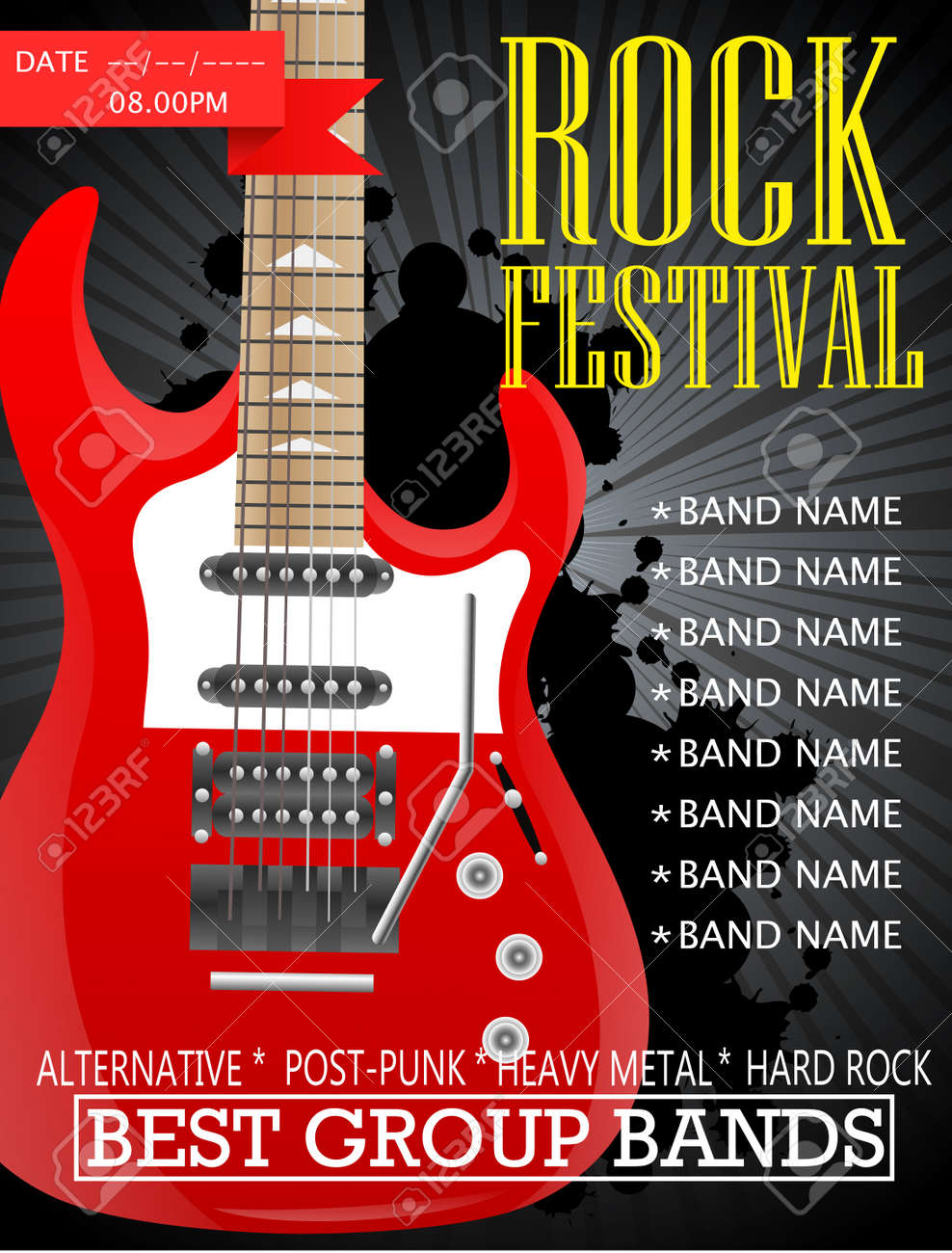 Rock Festival Banner Design Template With Guitar Vector Illustration Royalty Free Cliparts Vectors And Stock Illustration Image 92435968