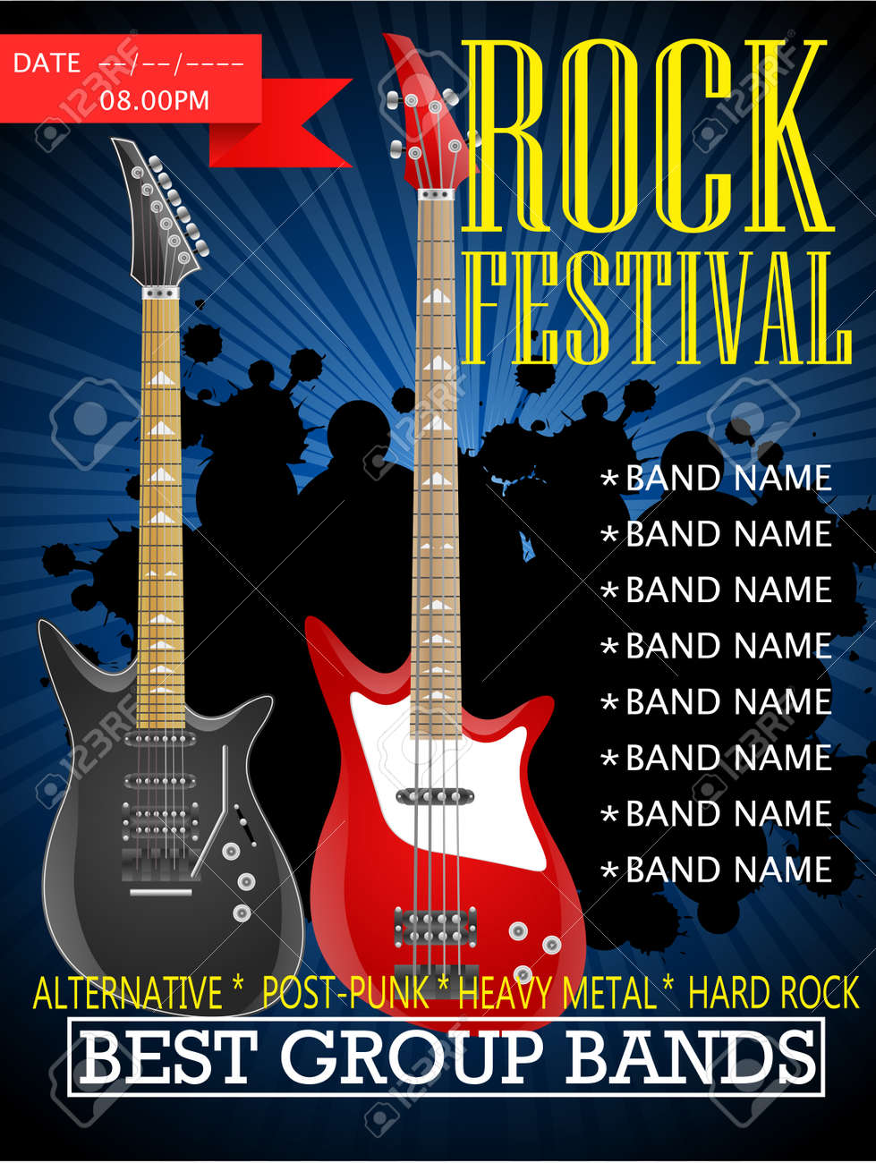 Rock Festival Banner Design Template With Guitar Vector Illustration Royalty Free Cliparts Vectors And Stock Illustration Image 92435997