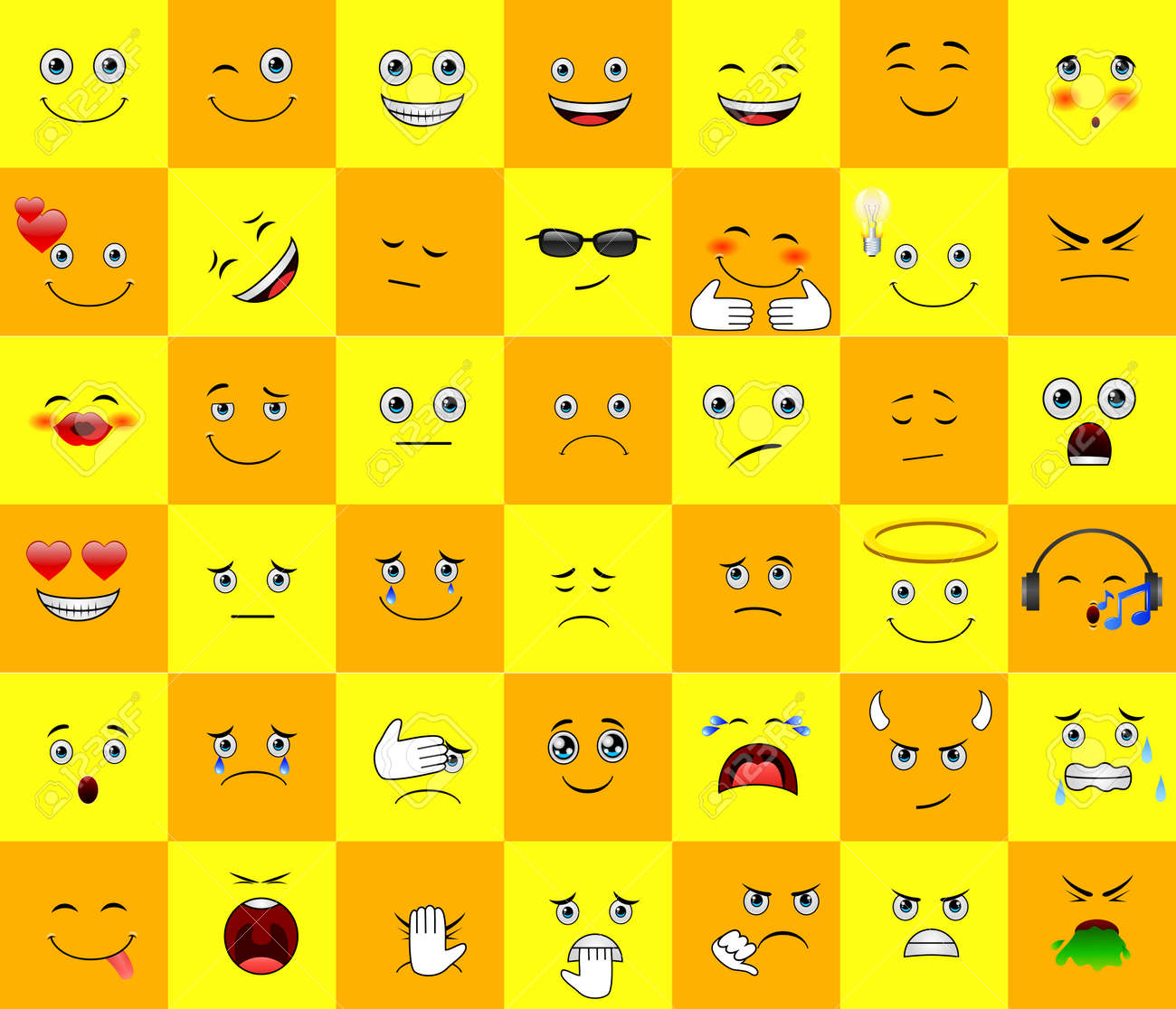 Emoticons or smileys with funny and happy facial expressions in yellow blank space background for text or presentation. - 154220392