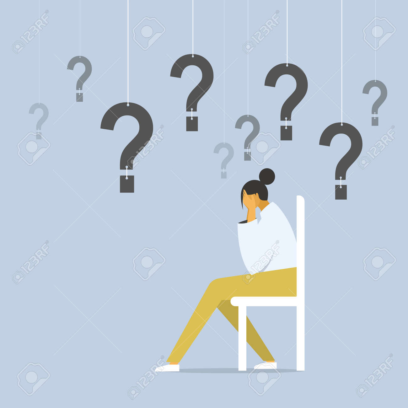 Conceptual illustration of a depressed girl sitting on a chair with questions hanging around her - 170582377