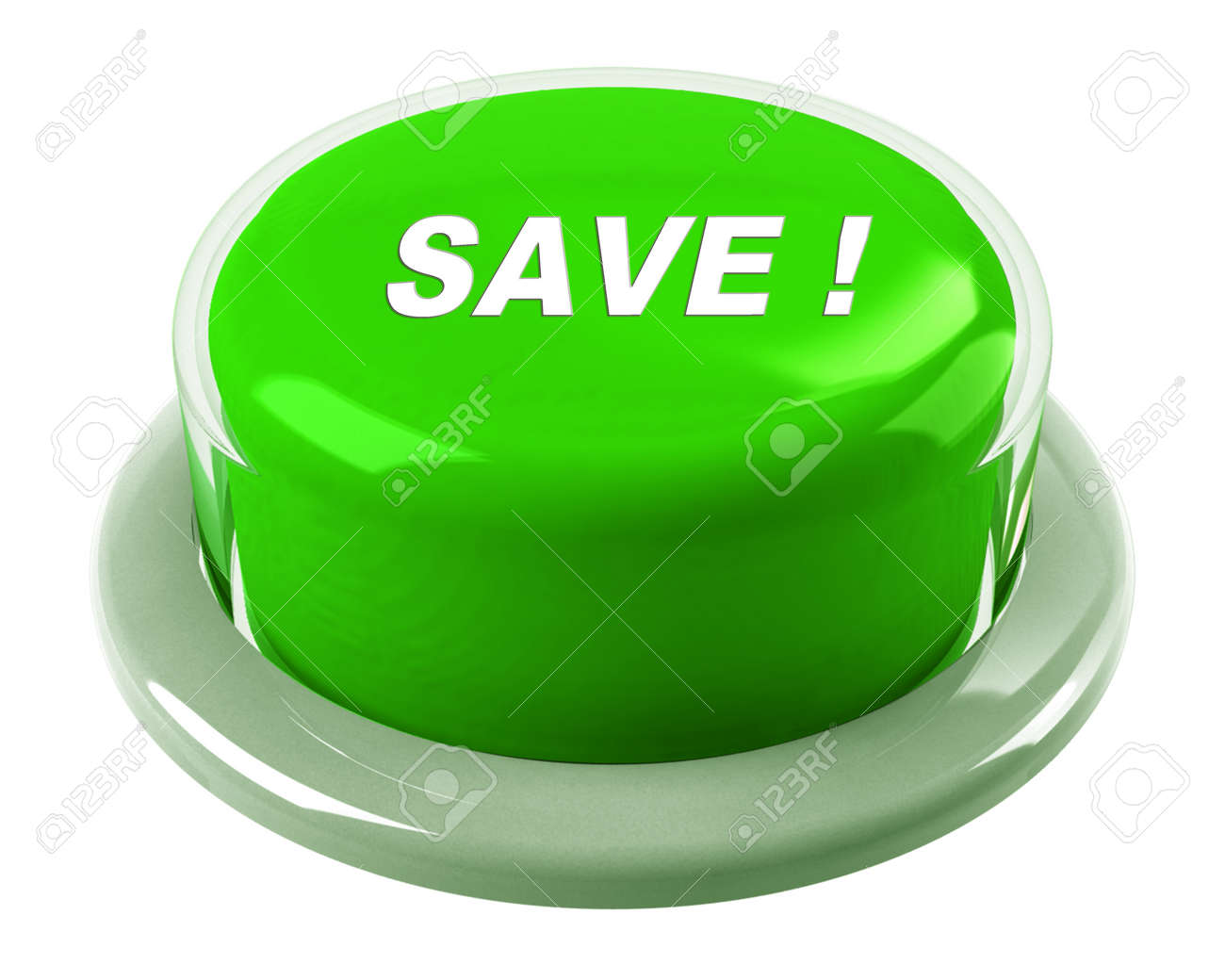 A green button with the word Save! on it Stock Photo - 11850024