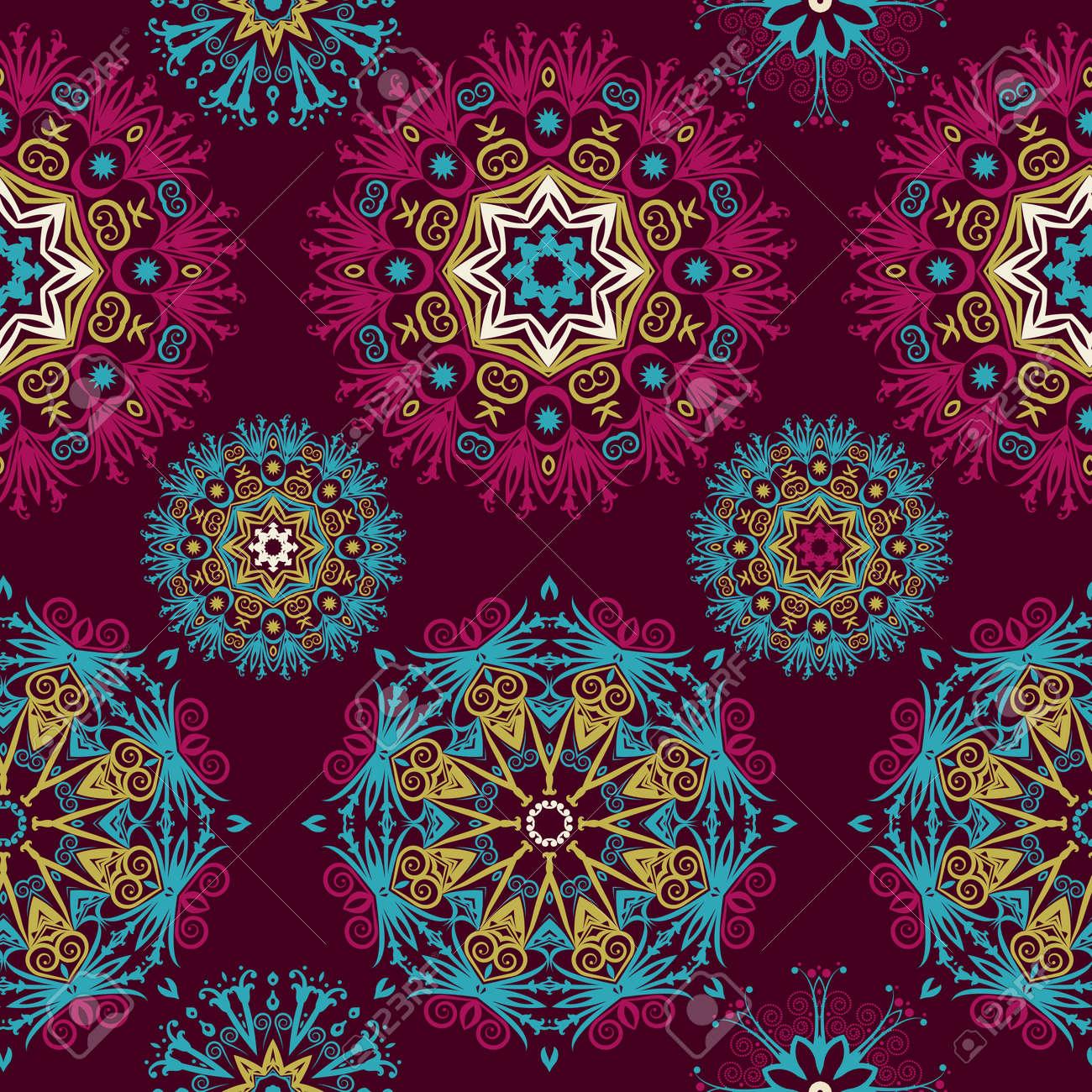 Hermosas Mandalas Fondo Inconsútil Abstracto Con El Patrón Elements