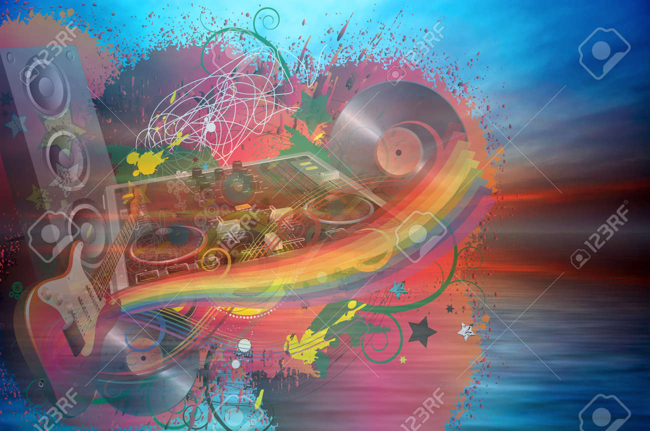 Music rainbow on the ocean sunset background Stock Photo - 11595238
