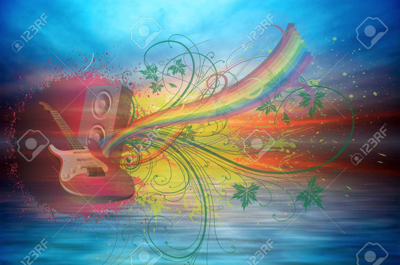Music rainbow on the ocean sunset background Stock Photo - 11595239