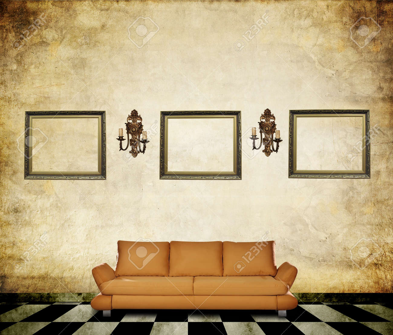 Vintage room with forniture, grunge floor and wall with lanterns and frames Stock Photo - 11985191