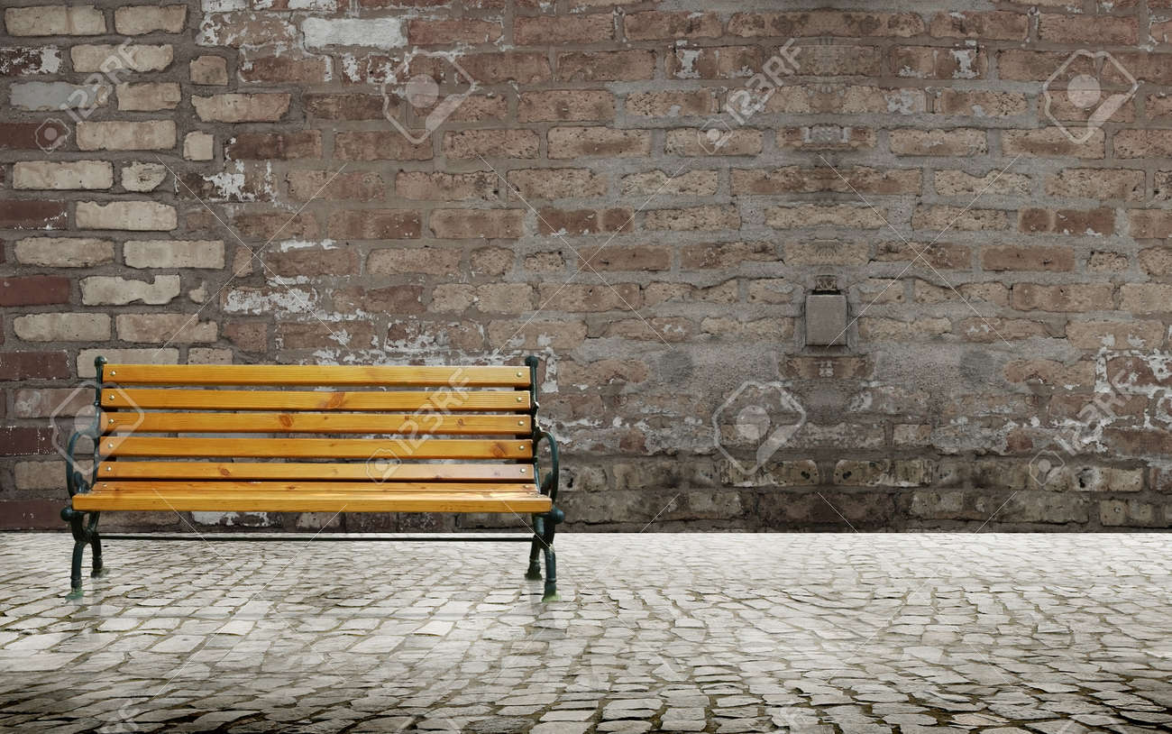 Paved road with bench chair and brick wall background Stock Photo - 12061404 & Paved Road With Bench Chair And Brick Wall Background Stock Photo ...