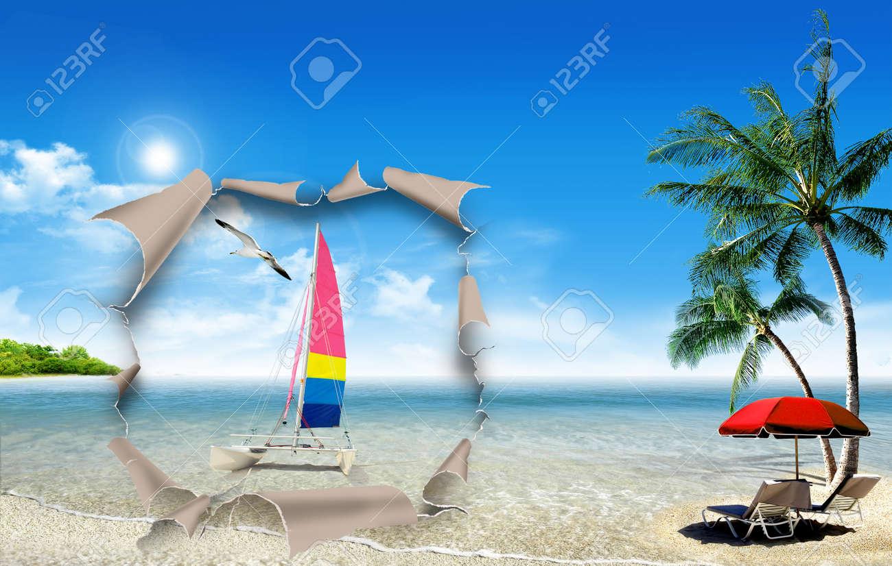 Liegestuhl mit sonnenschirm strand  Tropischer Strand Auf Dem Ozean Mit Liegestuhl Und Sonnenschirm ...
